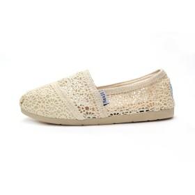 [nagaji] 自社製 スリッポン レディース TOMS風 TOMS shoes デザイン トムズシューズ風 レディース クロシェ編み デザイン Crochet Womens classics (40/ (25cm), ベージュ)