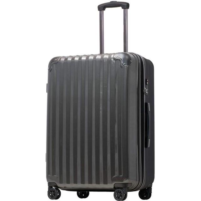【JP Design】スーツケース キャリーケース キャリーバッグ 超軽量 tsaロック 容量アップ 拡張機能付 二枚仕切り ダブルキャスター8輪 LMサイズ ハードキャリー ファスナー (LM, ガンメタリック/BK))