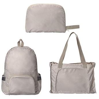 折りたたみ リュック トートバッグ 2way 軽量 防水 大容量 ショルダーバッグ バッグパック (ベージュ)