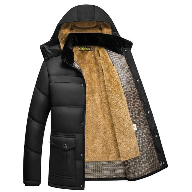 [えみり] メンズ 中綿ジャケット ジャケット 中綿コート ショート丈 裏ボア 裏起毛 厚手 防寒 秋冬 フード付き カジュアル オシャレ ブラックXL