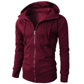 男性のジャケット、三番目の店 メンズ 秋 冬 ロングスリーブ パッチワーク ジッパー パーカー フード付き プルオーバーセーター コート