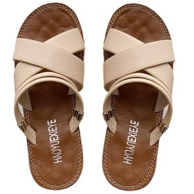 [FollowDream] サンダル レディース ビーチサンダル ローヒール 歩きやすい ぺたんこ サンダル フラット ストラップ 夏 シューズ 靴 美脚 滑り止め おしゃれ カジュアル アウトドア 大きいサイズ 杏色 24cm