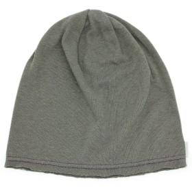 (ザクション) Zaction 日本製 帽子 メンズ レディース キッズ ワッチ ソフトガーゼ 薄手 ニット帽 L枯草