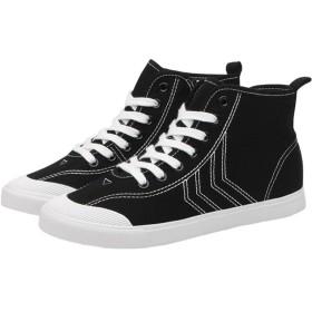 Sufoen サイドジップ スニーカー ハイカット レディース キャンバスシューズ カジュアル シューズ ズック靴 無地 ファッション (24CM, ブラック)