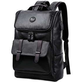 KISSUN リュック メンズ 2WAY 手提げバッグ 大容量 薄型 PUレザー 撥水 ビジネス カジュアル