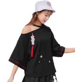 [エージョン] レディース シャツ 学生 半袖 森ガール ゆったり トップス カッコいい 夏 ベアトップ ファッション ブラックL