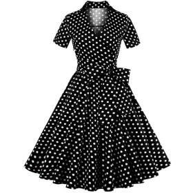 Hzjundasi エレガンス・キャリア 50年代 ビンテージ 水玉模様 プロム ドレス 半袖 ドレス スイングワンピース レディーズ