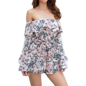 Honghu Women's FloralプリントオフショルダーロングスリーブショーツRomper Jumpsuit多色M
