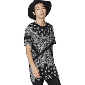 (パブリックアイズ) PUBLIC EYES バンダナ柄オーバーサイズTシャツ ビッグシルエットドロップショルダーTシャツ PE-84 PE-84 M ブラック PE-84_BK01M001