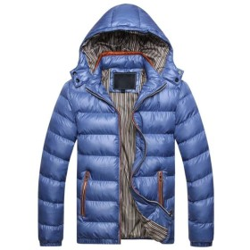 [ミートン] 厚手 ダウンコート メンズ ダウンジャケット 中綿コート アウター ブルゾン 冬服 軽量 防寒 フード付き 無地 大きいサイズ ゆったり ブルー5XL