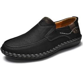 Beeagle メンズ スリッポン 革靴 本革 紳士靴 カジュアル デッキシューズ Black 46