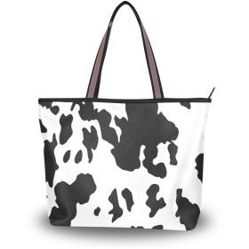 マキク(MAKIKU) トートバッグ レディース 大容量 キャンバス 布 a4 牛柄 おもしろい ホワイト ブラック 軽量 2way 肩掛け 大きめ ファスナー L