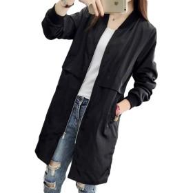 Gergeous アウターレディースロング丈ライトジャケット無地カジュアル春服スタジャン春薄手ロングコートカジュアル(F黒)