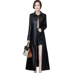 [イダク] レザージャケット レディース 超ロングコート 本革 ロング丈 折り襟 レザーコートブラック5XL