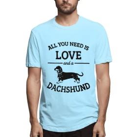 DCQ Tシャツ メンズ 半袖 夏tシャツ メンズ 必要 愛 ダックスフンド 犬 Tシャツ 五分袖 ゆったり 五分袖 半 薄 Sky Blue M