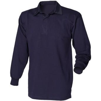 (フロント・ロウ) Front Row メンズ クラシック 長袖ポロシャツ ラガーシャツ トップス カットソー 男性用 (L) (ネイビー/ネイビー)