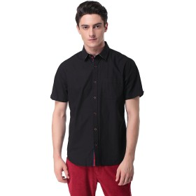 メンズ カジュアルシャツ 半袖 シャツ ワイシャツ 無地 ビジネス RF-24(S,Black)