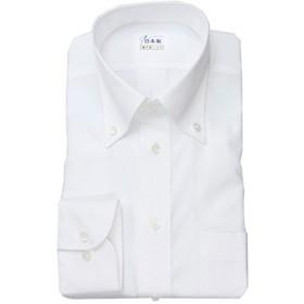 ワイシャツ メンズ長袖(形態安定シャツ)ボタンダウン ホワイトドビーカルゼ 綿ポリ混 軽井沢シャツ [A10KZB429] 標準型