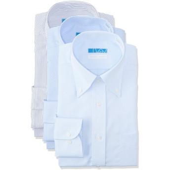 [ドレスコード101] ノーアイロン ワイシャツ メンズ(綿100% 形態安定 3枚組 セット) 10サイズ 色柄ボタンダウン×3枚セット 日本 LL(裄丈84) (日本サイズ2L相当)