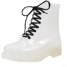 防滑 レインブーツレディース ショート 撥水 靴 滑りにくい 長靴 滑り止め 紐付きデザイン 歩きやすい 太ヒール 雨靴 レインシューズ 23.5cm 黄色 黒 [イノヤ]