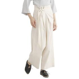 (メルロー) merlot リネン混ベルト付きワイドパンツ ベージュ