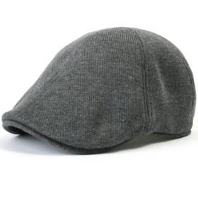 (イリリリー)ililily ソフトコットン ニュースボーイ フラットキャップ アイビー ストレッチ ドライバー ハンチング帽 (Dark Grey)