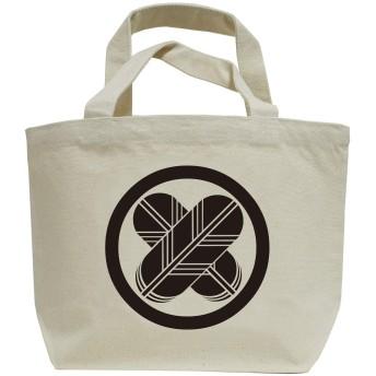 家紋ミニトートバッグ「丸に違い鷹の羽」ナチュラル+ブラック