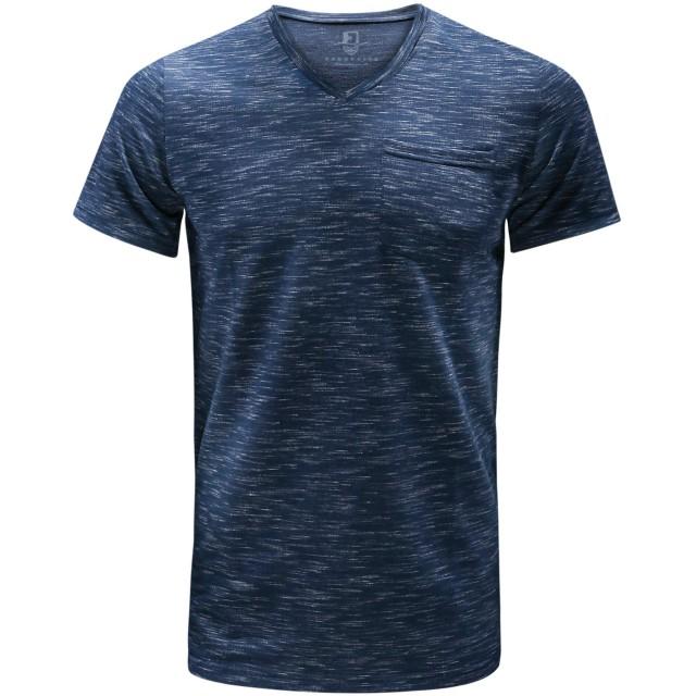 【FORBUSITE】Tシャツ メンズ 半袖 夏服 インナーシャツ 小さめ タイト 薄手 カジュアル vネック (L, ネイビー)