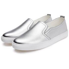 [Honel] 革靴 レディース フラットシューズ 本革 パンプス スニーカー フラット 靴 スリッポン カジュアル レザー シューズ 滑り止め 軽量 柔らかい (シルバー、23cm)