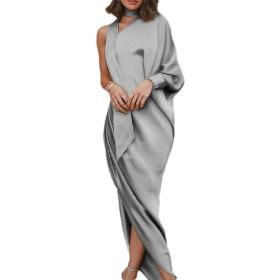 VITryst レディースハイウエイボディコンスプリットドレープワンワンイブニングドレス Grey S