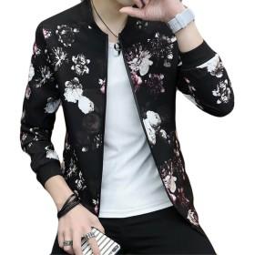 YiTong メンズ MA-1 ジャケット おしゃれ アウター ハンサム 野球服 春 秋 コート 長袖 ファッション ジャンパー 韓版 ブルゾン シンプル オーバー シンプル スリム 薄手 スタンドカラー A9-W