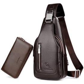 ボディバッグ メンズ 斜め掛け 大容量 ワンショルダー バッグ USBポートイヤホン穴付き ショルダーバッグ PUレザー仕様 人気 防水 肩掛けバッグ 贈財布 (A2)