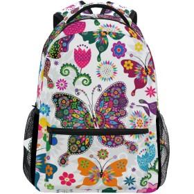 GORIRA(ゴリラ)リュックサック 高校生 可愛い 大容量 キッズ 通学 バタフライ 蝶 柄 リュック レディース おしゃれ 大人 防水 キャンバス 男女兼用 旅行バッグパック