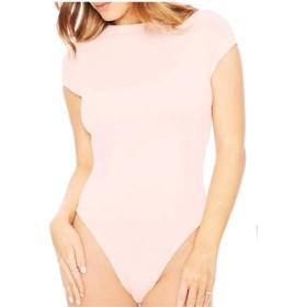 maweisong 女性の半袖ボディスーツレオタード・ジャンプスーツ・ロンパース Pink XL