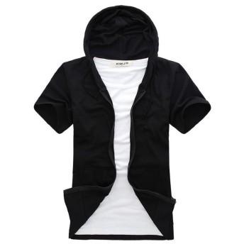 Foncaz パーカー 半袖 メンズ ジップアップパーカー スウェット フード ポケット付き 無地 薄手 カジュアル シンプル (ブラック, L)