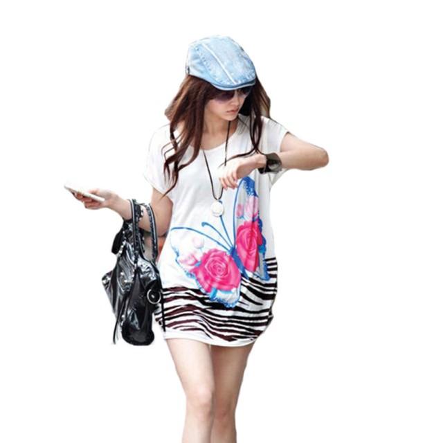 Wiboyjp 花柄 tシャツ ロングtシャツ スウェット 総柄 蝶 ネコ プリント ロング丈 ゆったり 大きいサイズ ルーズ t shirt  チョウ ボーダー
