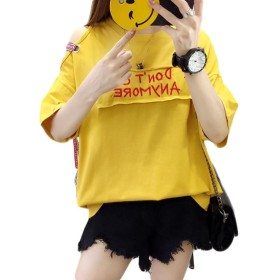 ZhongJue(ジュージェン) 半袖 tシャツ レディース オフショルダー かわいい ファッション トップス 夏物 プルオーバー白 黒 イエロー(4イエロー)