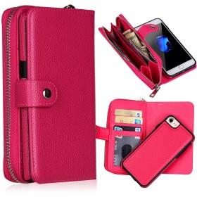 E&FASHION iphone 8/iphone 7 財布型 スマートフォンカバー 多機能 カード収納 ジッパーバッグ(小銭&コイン&イヤホン収納可能) PUレザー 分離式 マグネット式吸着 スマホ ケース (iphone 8/iphone 7,ローズ)