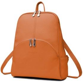 Nevenka リュック 軽量 大容量 PUレザー 通勤 通学 旅行 A4 iPad対応 ポケット付き レディース 7色 (オレンジ)