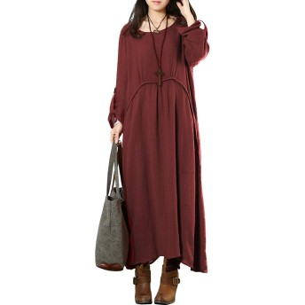 ワンピース レディース 秋 冬 春 マキシ リネン 無地 長袖 大きいサイズ 赤 M