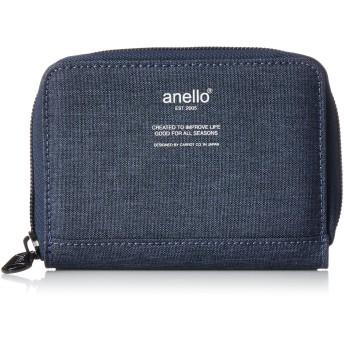 [アネロ] 財布 高密度杢調ポリ ラウンドZ折財布 AU-H1154 ネイビー