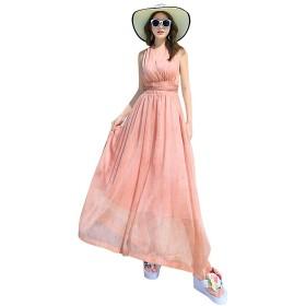 Viinin レディース ボヘミアンスタイル シフォン ワンピース ビーチ ドレス