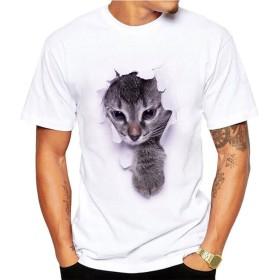 サクララ(Sakulala) Tシャツ メンズ 半袖 3D 猫 プリント ドライ素材 スポーツ 夏 吸水速乾 無地 父の日 アベツク おしゃれ シンプル 彼氏 プレゼント 通勤 通学 運動 日常用 (M, 2)