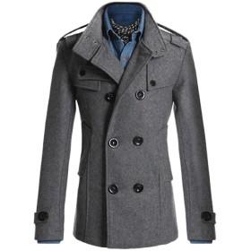 コート ジャケットメンズ スタイリッシュ コート 長袖 アウター スーツ ビジネス 冬 N3 (XL, グレー)