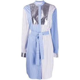 MSGM ストライプ パッチワーク シャツドレス - ホワイト