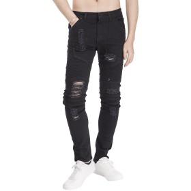 メンズ バイクパンツ ライダースジーンズ ストレートデニム パンツ メンズ ダメージ バイカー ジーンズ オートバイジーンズ スキニー ロング パンツ(ブラック-38)
