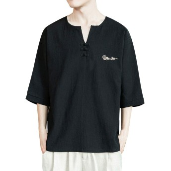 Aster JaKi カジュアル メンズ Tシャツ 綿麻 ゆったり 7分袖 古風 長袖Tシャツ 大きいサイズ スウェット Vネック リネン ストリート系 夏服 おしゃれ シャツ