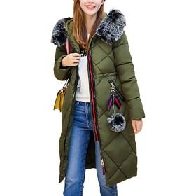 【もうほうきょう】 レディース綿入りのコート ロングコート 膝下コート 厚手コート ファーコート 冬コート ダウンコート (アーミーグレーン, 2XL)