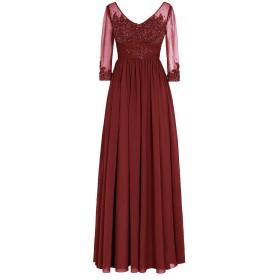 Dresstell レディーズ ロング丈 披露宴ドレス 結婚式ドレス お呼ばれ フォーマルドレス 七分袖 ビスチェタイプ アップリケ付く 演奏会ドレス ステージドレス セクシーVネック ステージドレス 二次会ドレス ワインレッド サイズ21W