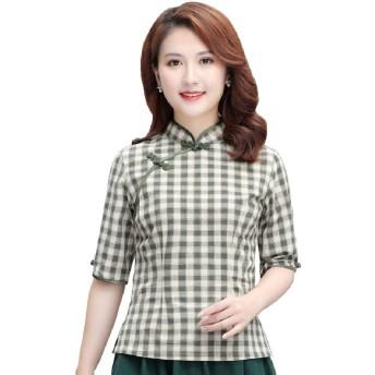 (上海物語) Shanghai Story レディース チャイナ ブラウス カジュアル チェックシャツ 中袖 普段着 中国風 トップス グリーン 4XL